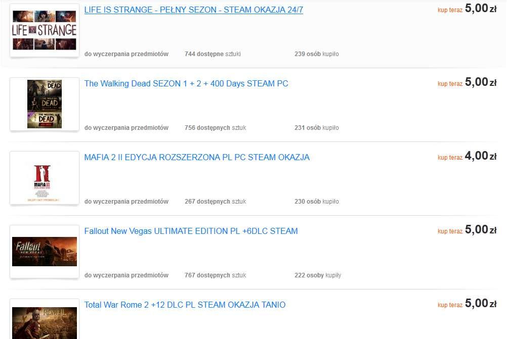 tanie-gry-na-steamie Sprzedaż dostępu do konta Steam, czy to jest legalne? Gry po kilka złotych na Allegro.