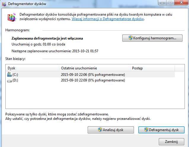 Defragmentacja-dysku-twardego Sześć sposobów na przyspieszenie Windows 7. Poprawiamy wydajność Siódemki za darmo.