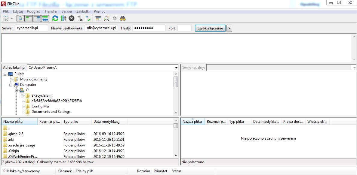 Filezilla Konfiguracja klienta FTP Filezilla - łączenie z serwerem FTP.