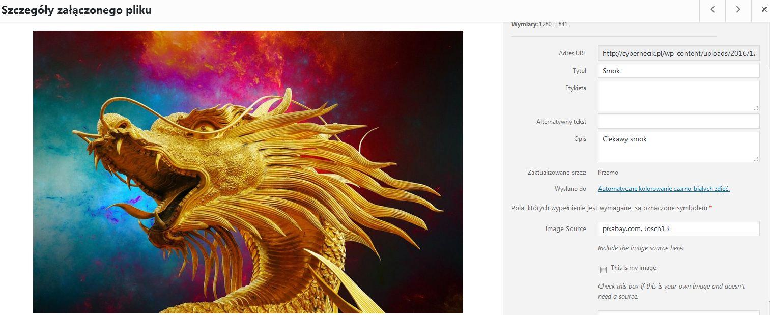 Wordpress-opisy-zdjec Automatyczne tagowanie zdjęć w Wordpress. Wtyczka dodająca opisy i tytuły obrazków WP.