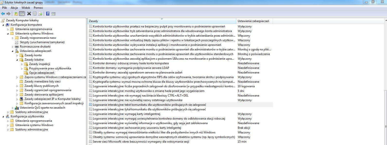 tekst-dla-uzytkownika Komunikat wyświetlany podczas logowania do systemu.
