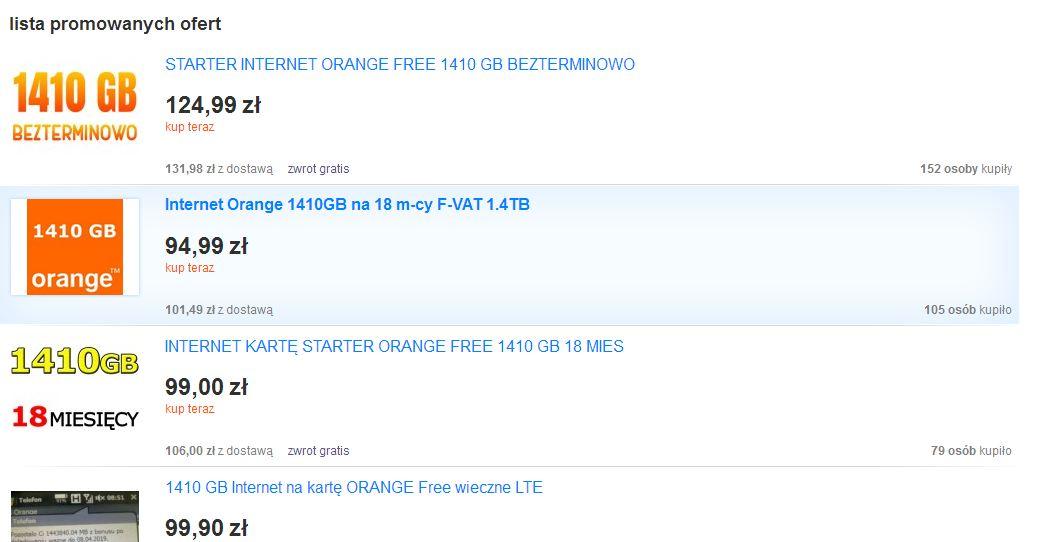 Internet-na-karte Biznes na bonusach za doładowanie w Orange Free na kartę. Czyli jak sprzedawać internet na Allegro.